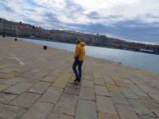 Niki being blown towards Greece